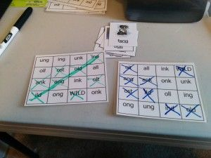 """Rimes Bingo for practicing NG/NK endings and """"Wild Old"""" words."""