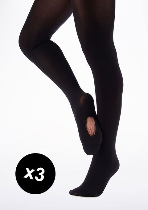 Move Convertible Toe Ballet Tights Black TRIPLE PACK - Move Dancewear®