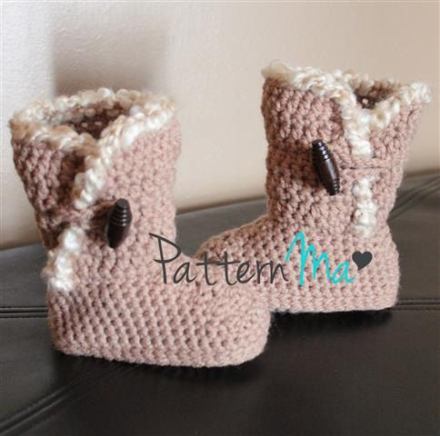 Crochet Ugg inspired Toddler Boots Pattern by PatternMa on Etsy, $5.00