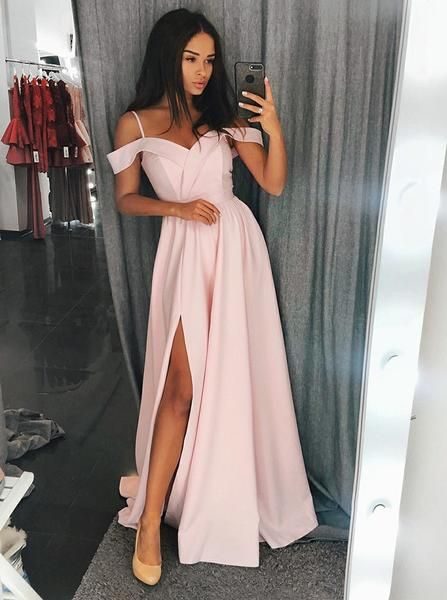 46311fcbda7e Custom Made Off Shoulder Red Blue Pink Prom Dresses with Slit