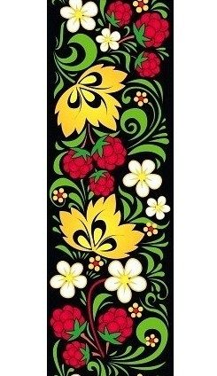 Folk Khokhloma painting from Russia. A floral pattern with raspberries. #art #folk #painting #Russian