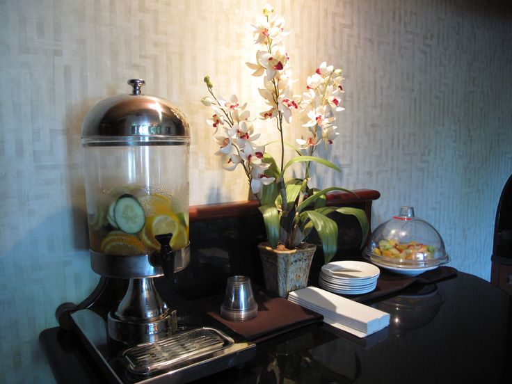 Refreshments in the waiting room at The Spa at #LagoMar #SpaLagoMar #FloridaSpa http://www.lagomar.com/experience/spa.php