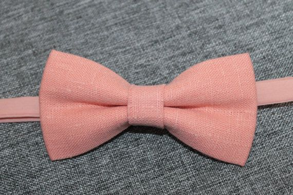 Salmon Linen Bow tie men /Peach Linen Bow tie / Mens bow tie / Bow Ties, Boys Bowties, Boys Bow Tie, Baby Bowtie / Wedding groom accessory