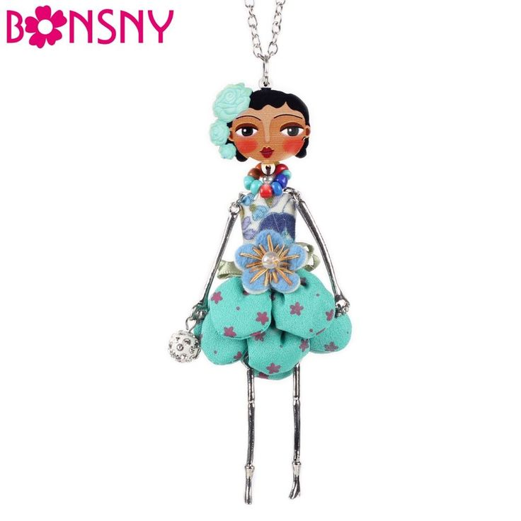 doll necklace dress coral trendy new 2015 acrylic alloy cute girl women flower figure pendant fashion jewelry accessories