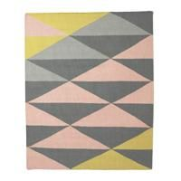 Kelim gulvteppe, geometrisk gul 120x150.
