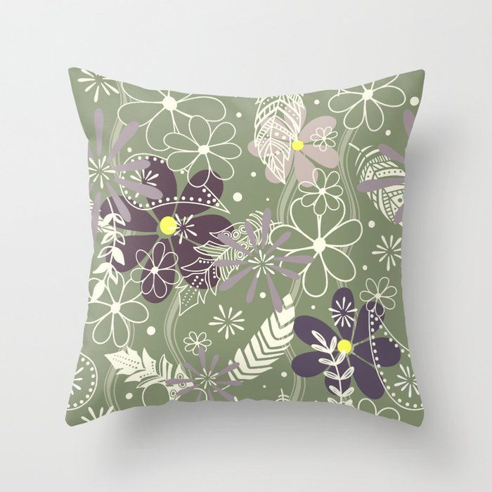 Plum Purple Sage Doodle Feathers And Flowers Throw Pillow By Katzdzynes Click Tap To Buy Flower Throw Pillows Throw Pillows Indoor Pillow