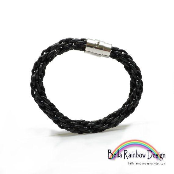 Black & Silver Leather Kumihimo Braided by BellaRainbowDesign