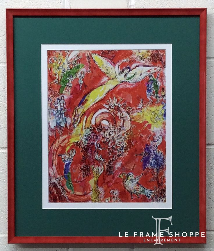 Summer is all about colour! We paired a green mat with a thin lacquered Jane Seymour #Fotiou Frame in claret rose for this Chagall print and art glass to show off all the details. #chagallprint #janeseymour #colour #customframing #leframeshoppe