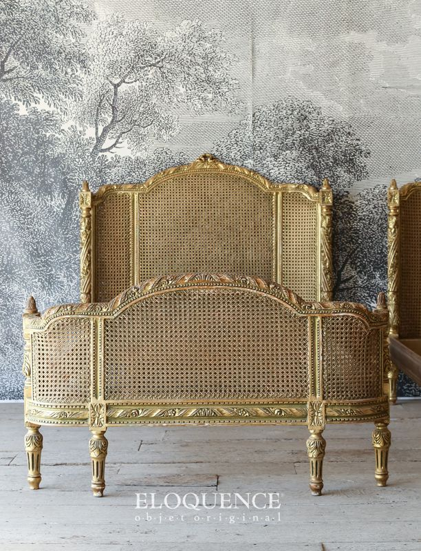 Eloquence Vintage French Gilt Cane Louis XVI Style Twin Beds
