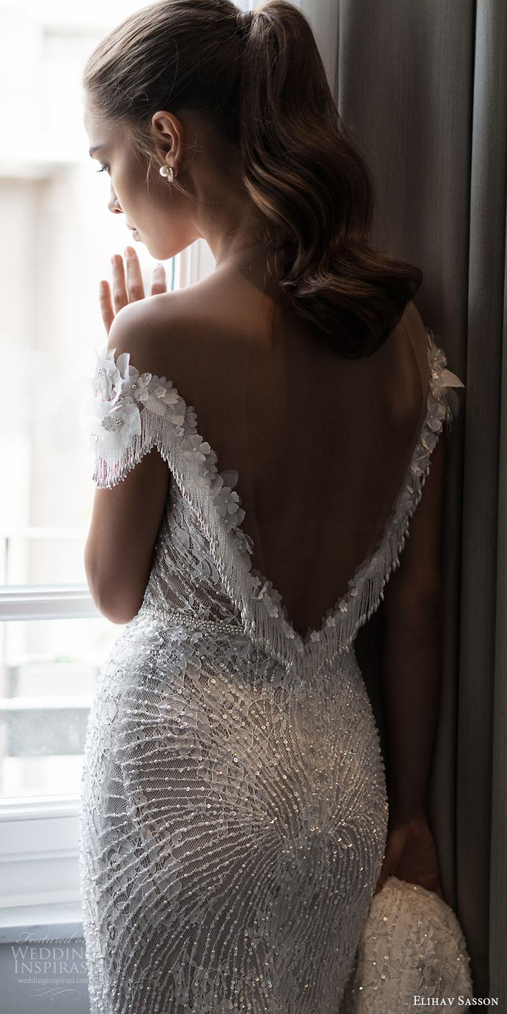 elihav sasson spring 2018 bridal illusion jewel neck off shoulder cap sleeeves fully beaded sheath wedding dress (vj 013) bv low back glam elegant