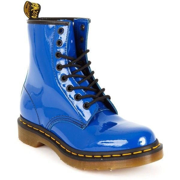 Dr. Martens Women's 1460 8 Eye Boots (€105) ❤ liked on Polyvore featuring shoes, boots, ankle booties, ankle boots, lace up ankle boots, laced up ankle boots, metallic ankle boots, lace-up booties and patent leather bootie