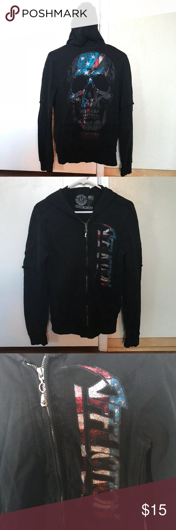 Affliction American Flag Skull Sweatshirt Affliction American flag skull zip up sweatshirt. Has different fabric details on sleeves and around hood. Affliction written on front in American flag metallic print. Back has skull in American flag print metallic print. Has a hood. Worn a few times, but still in good condition. Size large, but runs a bit on the smaller side. Affliction Tops Sweatshirts & Hoodies