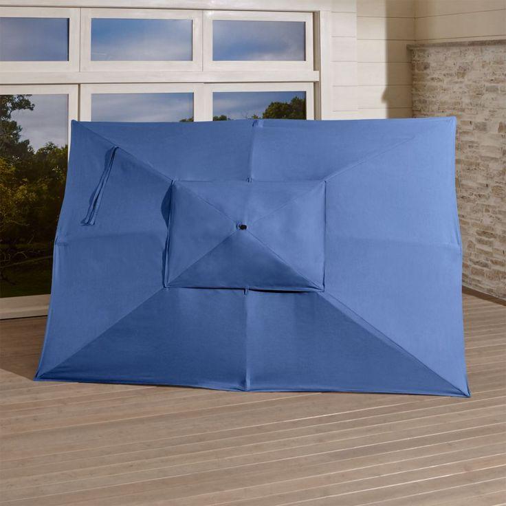 Rectangular Sunbrella ® Mediterranean Blue Umbrella Canopy. Crate And BarrelBarrelsBlue  UmbrellaRectangular UmbrellaAcrylicsPatio ...
