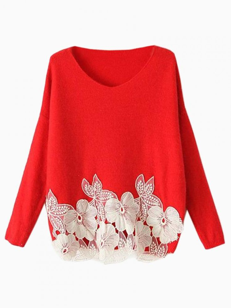 Red & White Floral Embroidered Sweater #jumper #holiday #festive