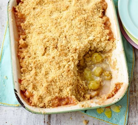 Make the most of a seasonal yield with a comforting crumble bake - a crunchy, buttery topping and fruity filling
