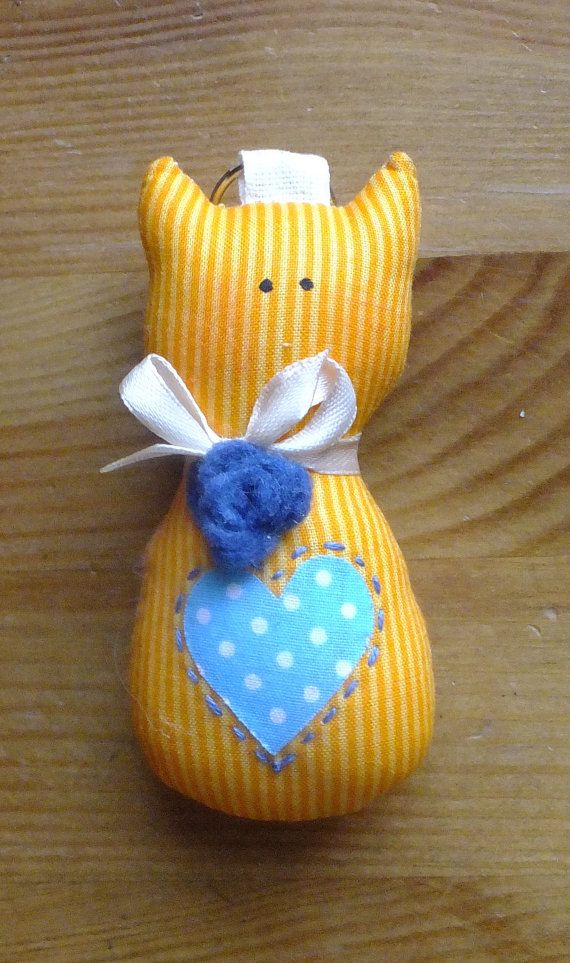 Orange Blue Key Ring Kitty with Rose by Bubago on Etsy