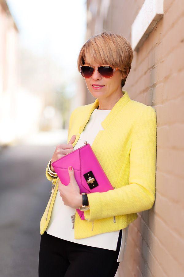 yellow jacket + pink clutch