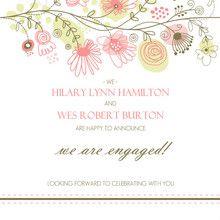 Springtime Floral Engagement Announcement - #inviteshop #cheapengagementannouncements #weddingannouncements