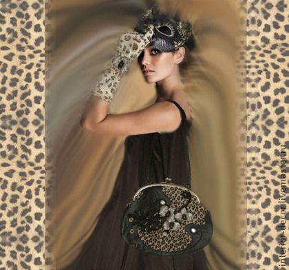"""Сумочка """"Дикая орхидея"""" - коричневый,звериная расцветка,Кожаная сумка"""