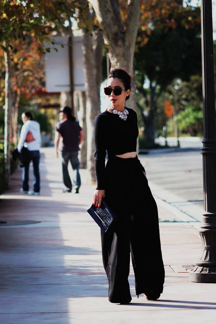 Mysterious Black: Cropped Top and Wide Leg Pants - Hallie Daily
