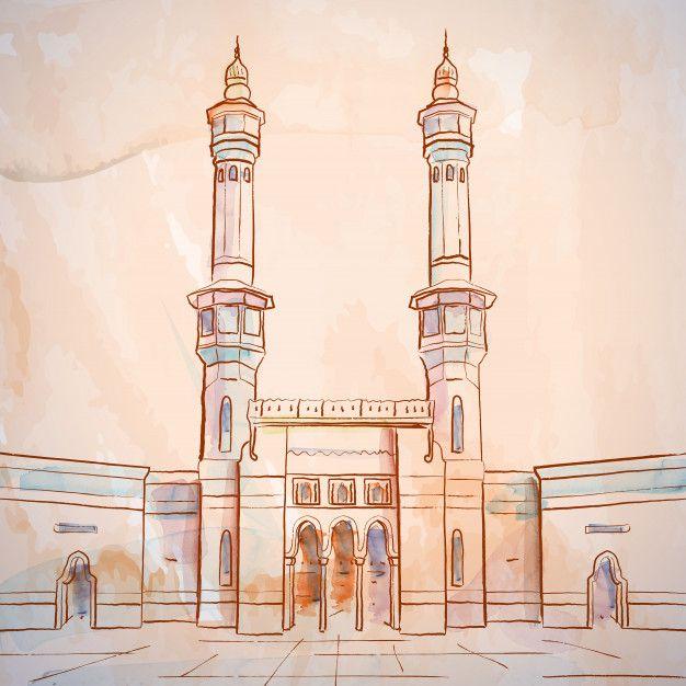 Mosque Sketch Masjid Al Haram In Mecca Saudi Arabia Masjid Al Haram Masjid Mecca