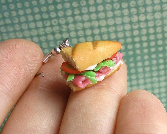 Ham Sandwich on Baguette Earrings