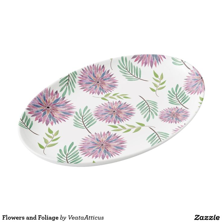 Flowers and Foliage Porcelain Serving Platter