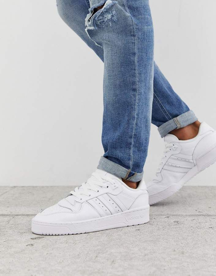 Adidas Originals rivalry low sneakers in triple white ...