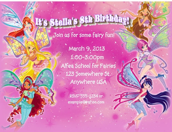 Winx Club Birthday Party Invitation with free Thank by Design13, $10.00