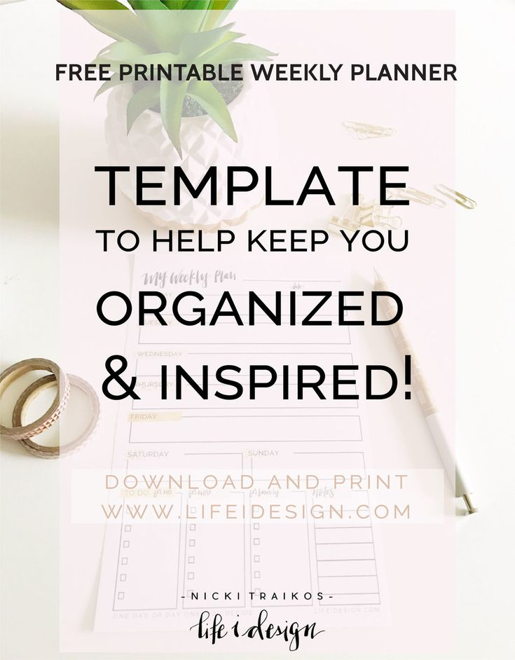 Free printable weekly planner template to help keep you organized and inspired.  Use these beautifully designed weekly planning sheets for your business and personal events, goals and to-do lists!  Stay organized in style! www.lifeidesign.com