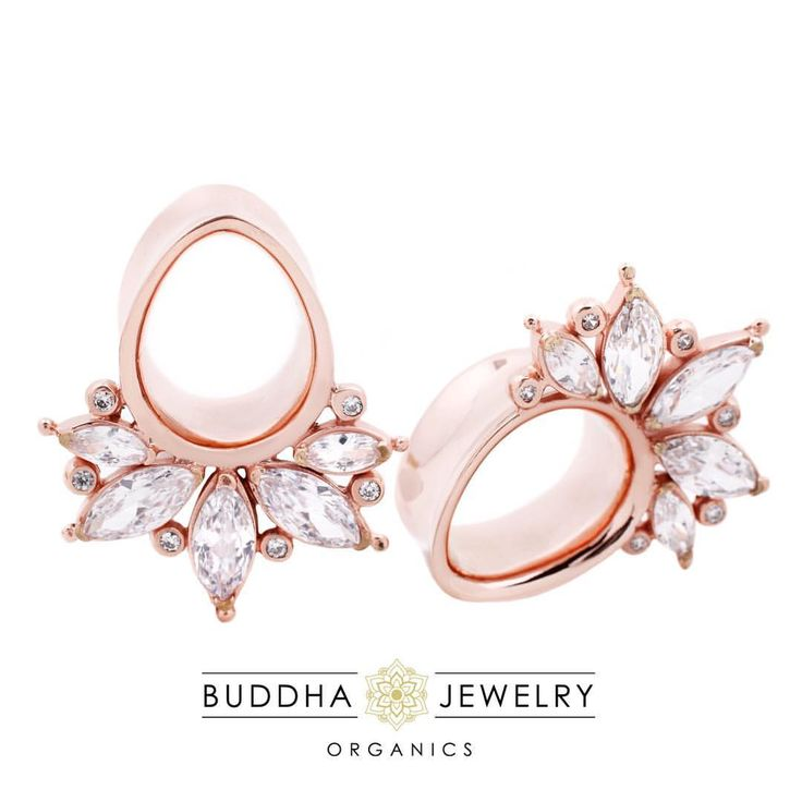 """buddhajewelryorganics: """" 2 weeks until APP! While we all wait patiently, here is something new to hold you over.. ✨Introducing the Marquise plugs!✨These 18kt rose gold plated eyelets have 11 sparkling CZs for you to show off! Not totally into..."""