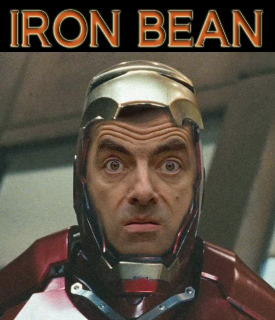 playing around in photoshop, mr bean is iron man!