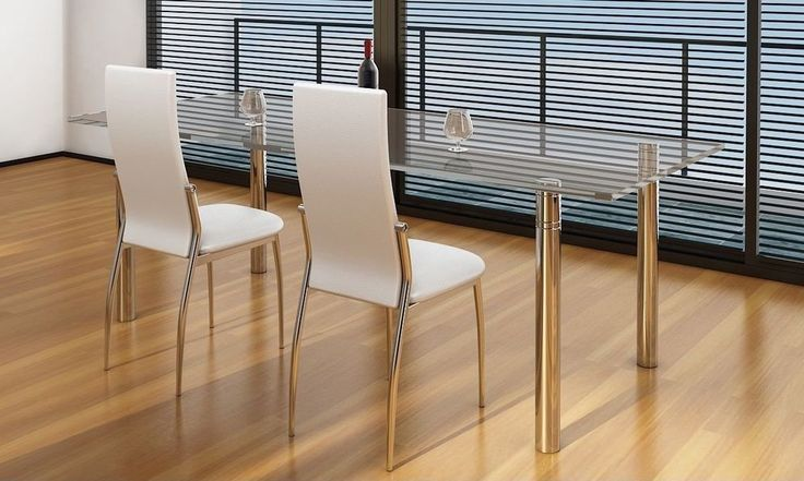 Pair Of Dining Chairs White Modern Furniture Home Artificial Leather Stylish Set