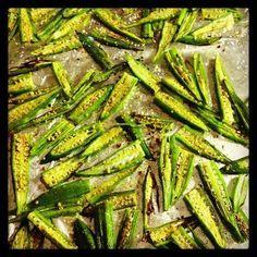 Spicy Okra Chips  prheat oven to 500 !  2 lbs okra*, sliced length-wise  1/4 cup olive oil  Seasoned Salt*  2 tablespoons kosher salt  1/4 teaspoon chili powder  1/2 teaspoon cumin  1/2 teaspoon smoked paprika  1/2 teaspoon ground coriander  1/2 teaspoon dried oregano  pinch serrano powder (*possible subs- red pepper flakes or cayenne pepper)