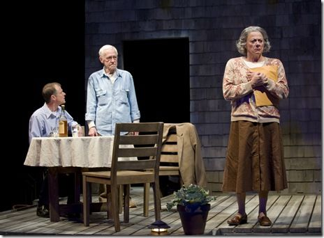 """Thomas J. Cox (Jack), John Mahoney (Gunner) and Rondi Reed (Peg) in Northlight Theatre's """"The Outgoing Tide"""" by Bruce Graham, directed by BJ Jones."""