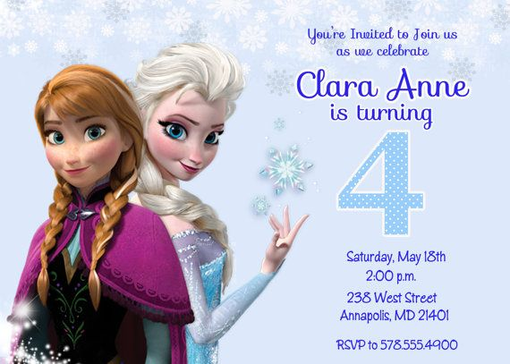 17 Best images about Frozen party – 4th Birthday Invitations