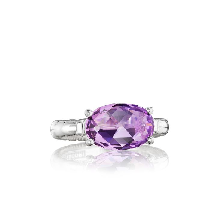 Tacori style no. SR13901. Oh-valicious! A unique oval-shaped amethyst center stone creates a truly exceptional Tacori design.  Multifaceted and sparkling from every angle, this chic ring creates a truly timeless and classic beauty.Tacori, Amethysts Rings, Rings Create, Chic Rings, Purple Amethysts, Lilac Blossoms, Jewelry Rings, 12X8 Oval, Amethyst Rings
