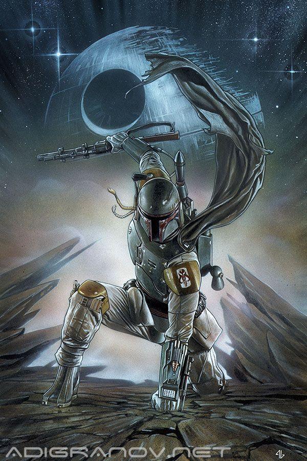Star Wars #1 Forbidden Planet variant cover - Boba Fett by Adi Granov *