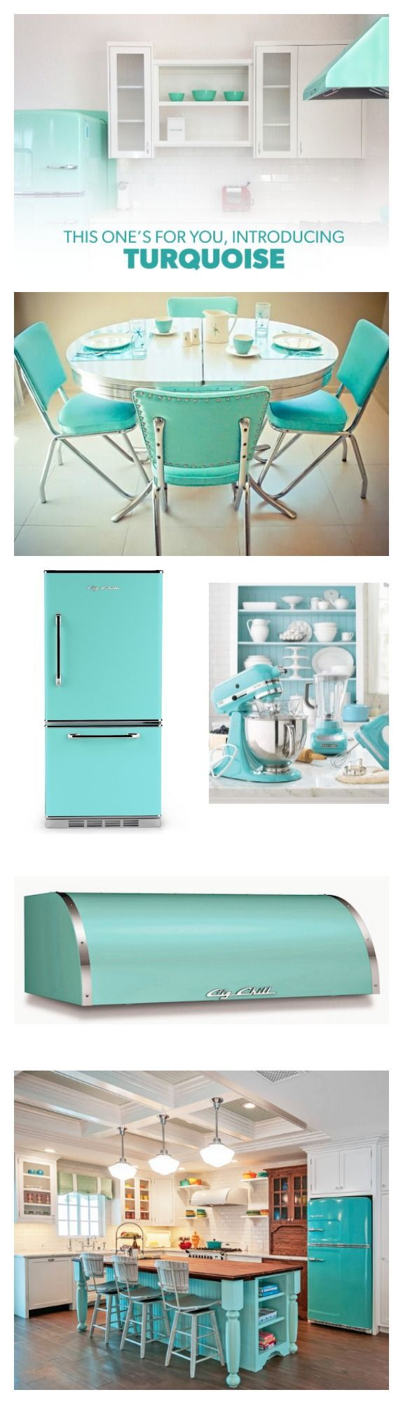 Big Chill offers turquoise as a standard color. This fabulous shade flatters any kitchen and looks invitingly chic. Explore the bright and inspiring details possible with this hue! #BigChill #Retro