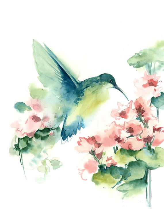 Set of 5 Fine Art Prints, Watercolor Prints, hummingbird, feathers, florals and green leaves, modern painting wall art Set of 5 watercolor painting art prints. Art Print from watercolor paintings by CanotStopPainting Teal green and pink palette modern wall art Hummingbird, feathers,
