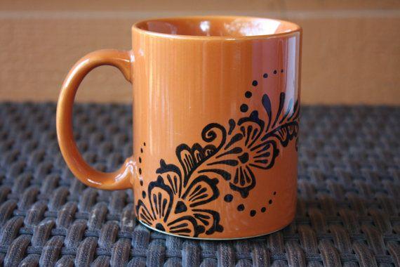 Orange and Black 10oz Coffee Mug with Floral Henna by ibleedheART