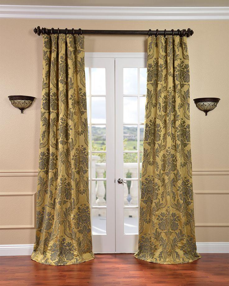 EFF Astoria Gold Bronze Faux Silk Jacquard Curtains