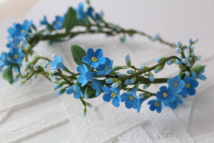 Blue forget-me-not  hair wreath. Wedding flower bridal hair accessory. Headpiece flower for hair.Make to order. (71.00 USD) by FloraAkkerman