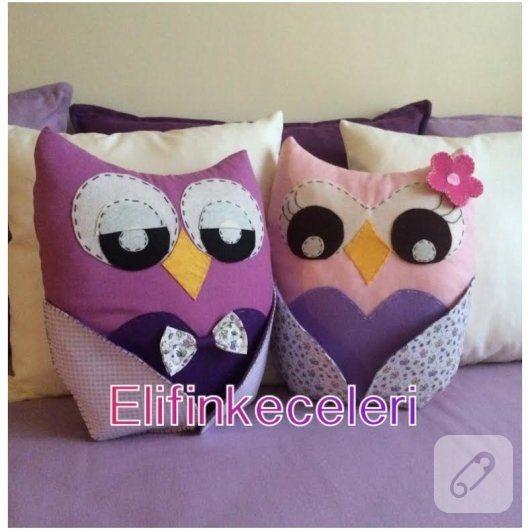 Keçe baykuşlu dekoratif yastıklar