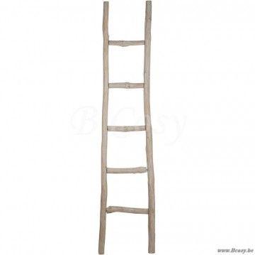 J-Line Ladder ruw 5 treden hout antiek grijs 41cm 180