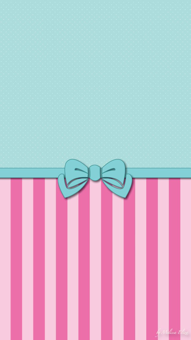 green and pink stripes and bow wallpaper