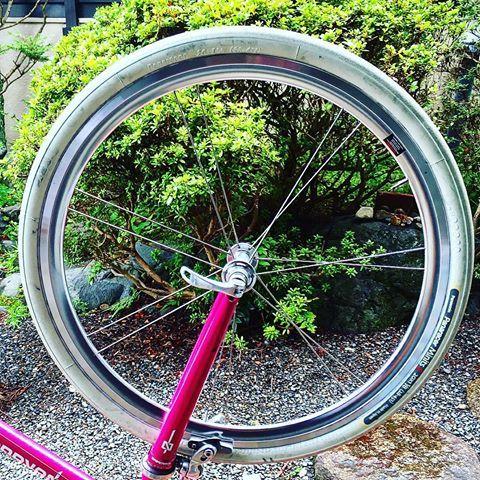韋駄天フロントホイール、美しいです。  #小径車 #小径自転車 #minivelo #ミニベロロード #ミニベロ #bicycle #cycle #cycling #自転車 #自転車のある風景 #京都 #kyoto #kyotojapan #japan #日本#ホイールカバー #カバーホイール #ディスクホイール #diskwheel #ttbike#nakagawa #ミヤノサイクルワークス#ハンドメイド#handmade
