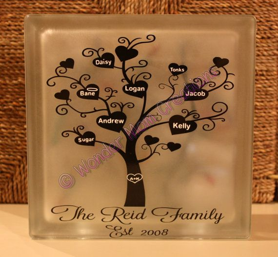 Heart Family Tree Glass Block by WonderMomCreations on Etsy $25.00 · Decorative Glass BlocksLighted ... & 40 best Glass blocks images on Pinterest | Glass blocks Glass and Jar