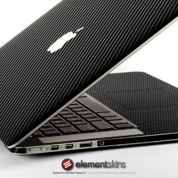 Black Carbon Fibre Full Wrap Skin Kit for MacBook by ElementSkins, $49.95