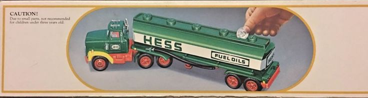"1984 ""HESS"" Gasoline Gas, Oil Toy Battery Operated Semi Tanker Truck Bank in box #Hess"